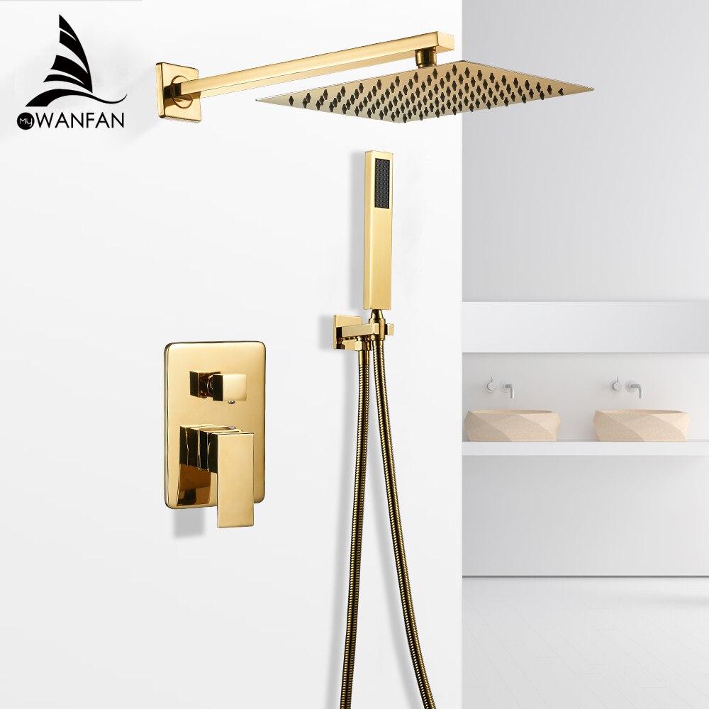 Смесители для ванны золотой для ванны дождь Душ настенный скрытый смеситель для ванной комнаты душевой набор смеситель черный смеситель Набор кран FS 138899