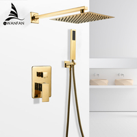 Bathtub Faucets Gold Bath Rain Shower Wall Concealed Bathroom Faucets Shower Set Faucet Mixer Black Mixer Set Crane FS 138899