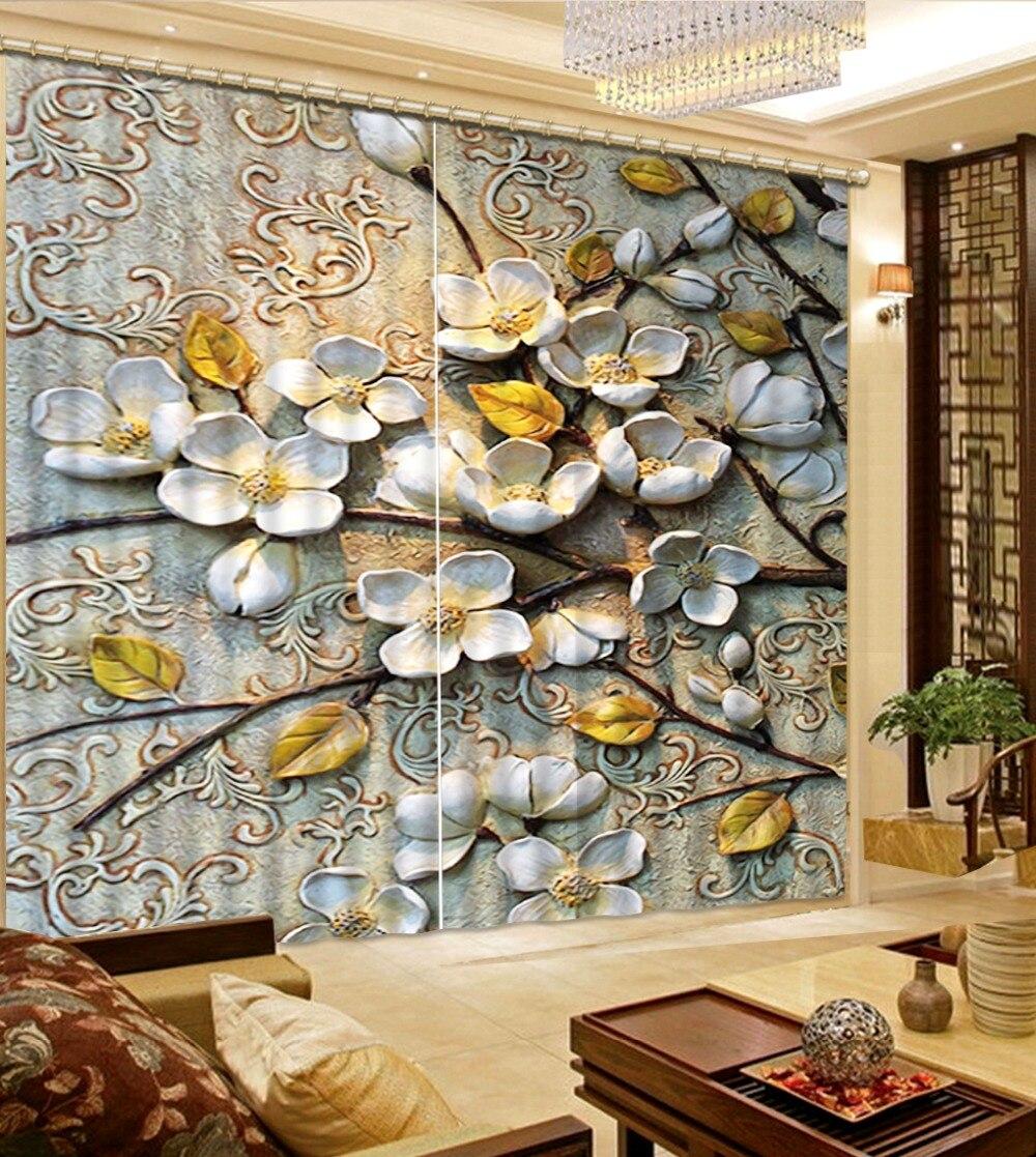 US $35.7 58% di SCONTO|Tende moderne per soggiorno finestra tende per la  cucina di lusso Carving Fiori personalizzato tende voile-in Tende da Casa e  ...