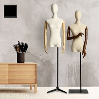 Half Body Female Fabric Mannequin With Plastic Arms