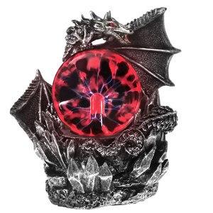 Medieval Dragon Resin Statue Dark Dragons Guardian Halloween Touch Responsive Electric Plasma Gazing Ball Gothic Orb Lighting(China)