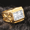 Square cut ring  yellow gold filled big cubic zirconia men ring size 10 11 12