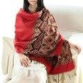 Foulard Femme Bufanda Mujeres chal pashmina Hijab rojo de Lujo diseñador de las mujeres bufandas de la borla de algodón Manta de Cachemira Bufanda Grande