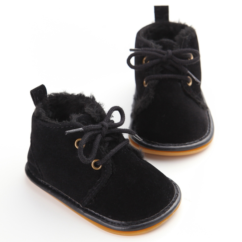 Wonbo New Fashion Solid Lace-Up Baby Boots Cross-tied For Autumn/Winter Baby Shoes For Warm Baby Plush Boots Shoes Wholesale