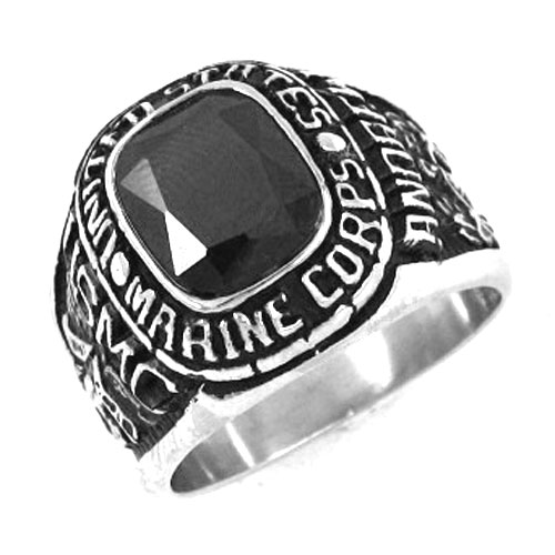 Black Zircon UNITED STATES MARINE CORPS <font><b>USMC</b></font> <font><b>Ring</b></font> Stainless Steel Jewelry USA Military Motor Biker Men <font><b>Ring</b></font> Wholesale SWR0157 image