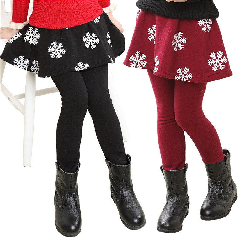 2018 Hot New Girls Spring Leggings Cirl Leggings Children Pants Legins Girls Leggings for Girls Snow Flower Skirt-Pants 2 in 1