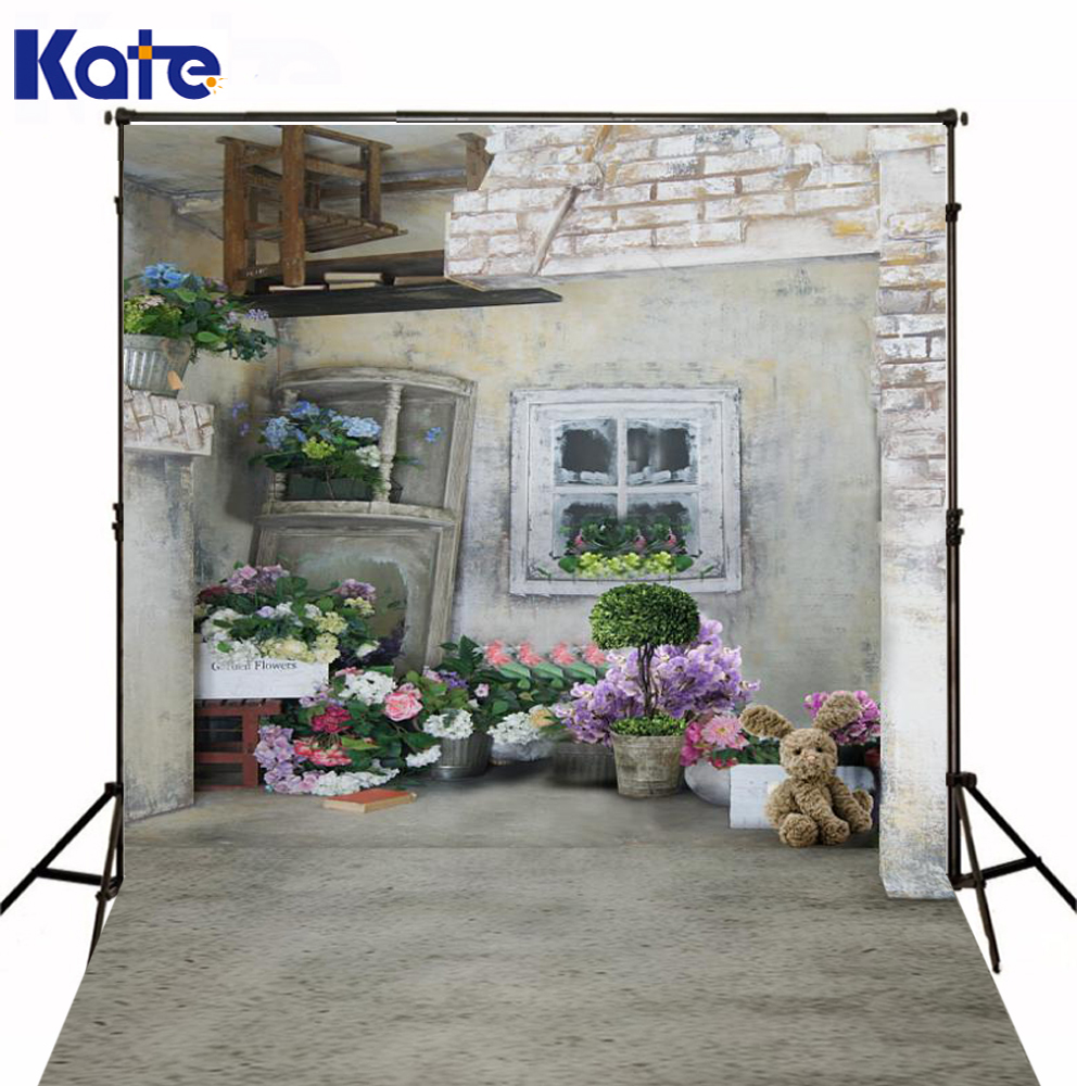 Kate Digital Photography Backdrops Toy Bear Flowers Old House Background Retro Brick Floor For Photo Studio Background