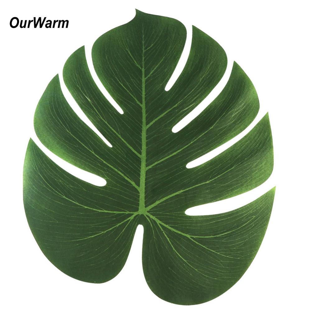 12pcs 35x29cm artificial tropical palm leaves for hawaii for Decoraciones para hojas