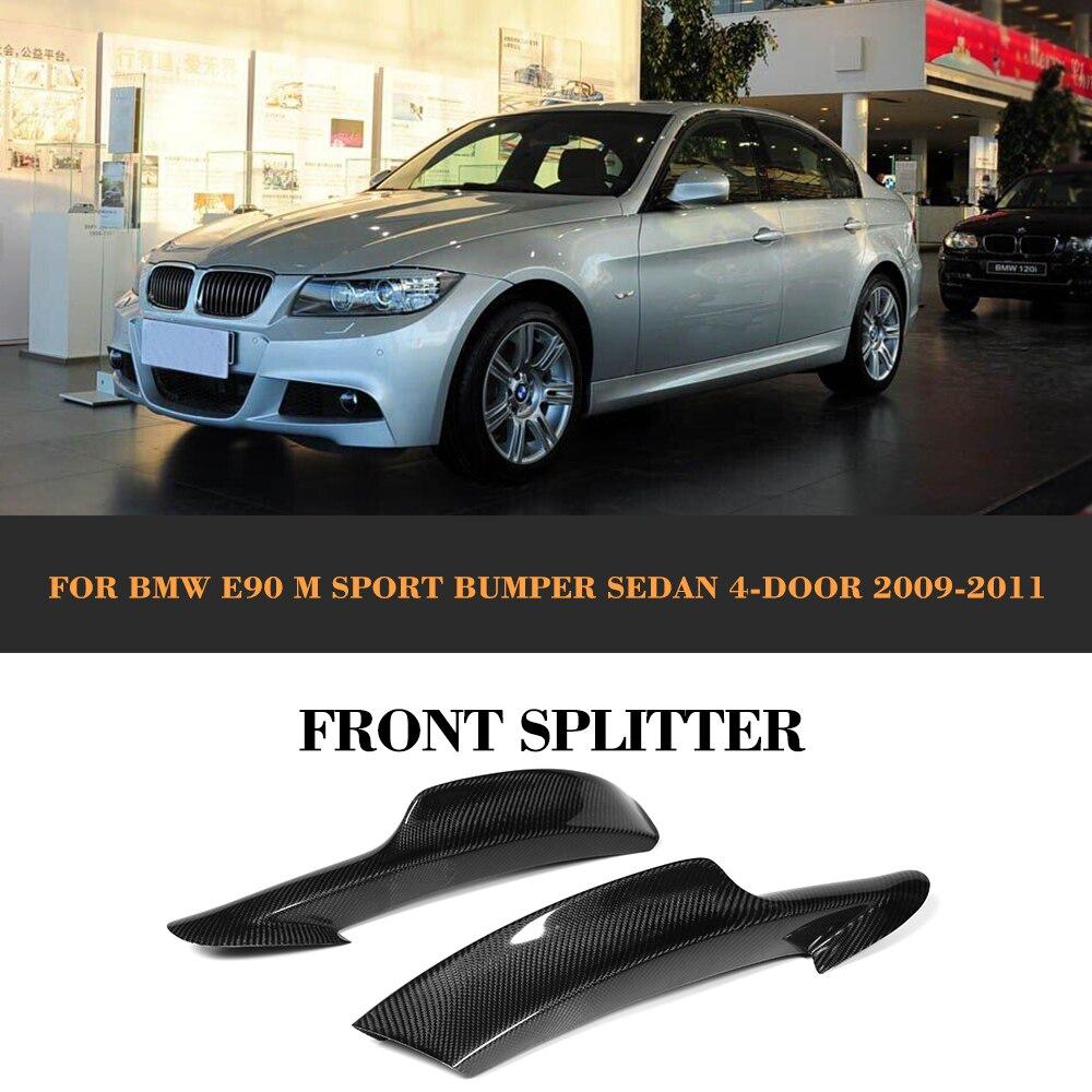 Otomobiller ve Motosikletler'ten Tamponlar'de 3 Serisi için Karbon Fiber Ön Tampon Yan Splitter Önlük BMW E90 LCI M Spor Sedan 4 Kapı 2009  2011 325i 335i title=
