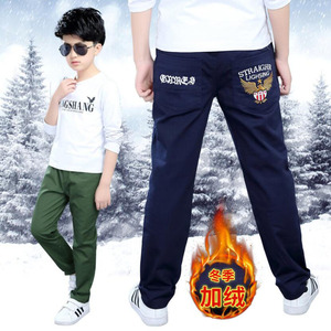 Image 1 - Boys pants teenage winter velvet warm pants kids long style solid causal trousers 3 15T baby boys outwear children clothes