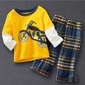 Pulando Feijão Meninos Roupas Set Crianças Ternos Do Esporte Do Motor Conjuntos de Roupas Meninos Define Camisetas Calças Meninos de Manga Longa