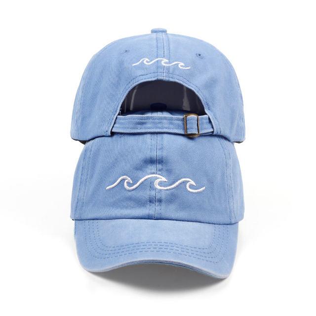 2018 nuevo diseño papá sombreros mujeres hombres mar ola gorra de béisbol de  alta calidad unisex 5bec35374b6