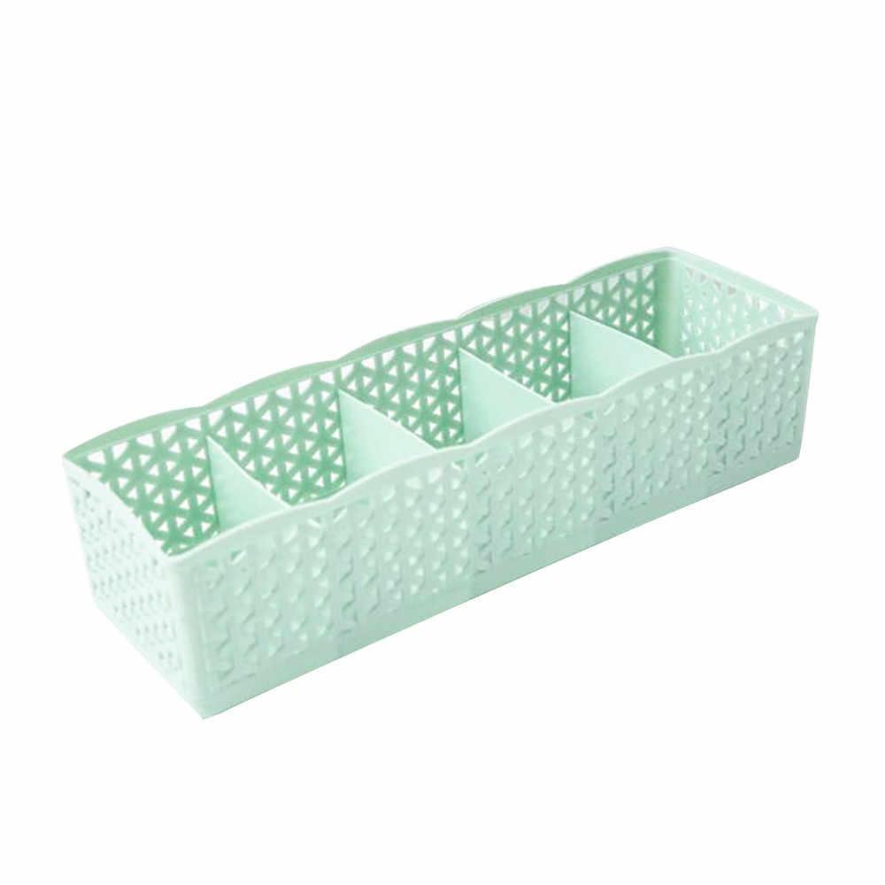 5 células Caixa de Armazenamento de Plástico Organizador Gravata Bra Socks Gaveta Divisor de Alta Qualidade Limpeza Container Organizadores Cosméticos