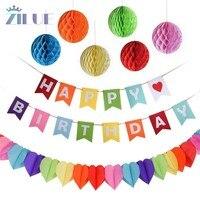 Zilue 8 개 생일 레인보우 플래그 모듬 풍선 매달려 소용돌이 배너 종이 세련된