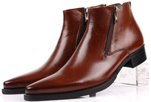 Large size EUR46 black Brown tan blue zipper mens ankle boots genuine leather business boots mens