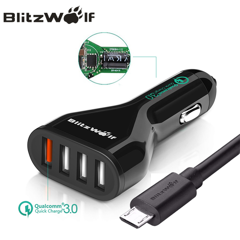 BlitzWolf QC3.0 Car Charger Mobile Phone Car-Charger 4 Port USB Car Charger Adapter With Cable Universal For iPhone For Samsung