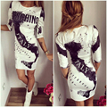 New 2016 Fashion Women early New Spring Sexy dress O-neck Half Sleeves Letter 3D Print Casual Slim Dresses