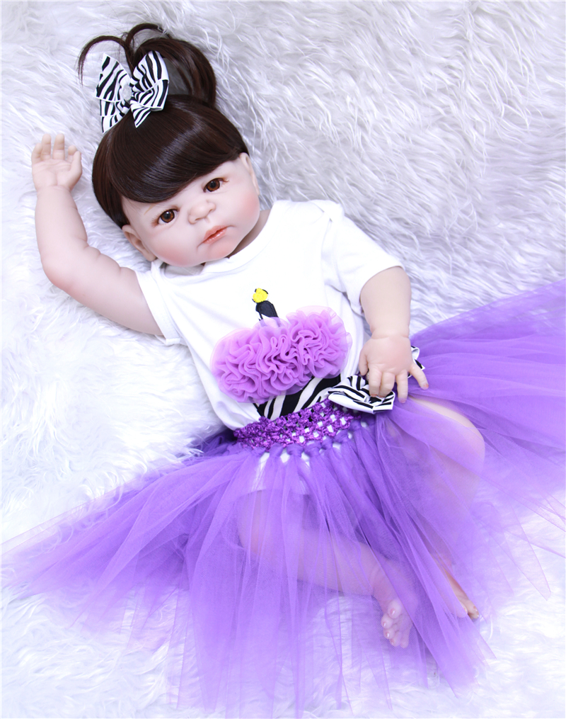 Bebe reborn 55 cm nouveau corps entier Silicone Reborn bébé poupée jouets nouveau-né fille bébé poupée cadeau de noël cadeau d'anniversaire jouet de bain