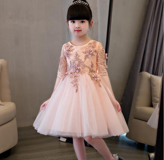 Elegant Flower Girl Dress For Weddings Appliques Tulle Evening Party Dresses Half Sleeve Baby Christening Dresses Prom Gown champagn tulle flower girl dresses for weddings with lace appliques beaded toddler pageant dress birthday party evening gowns