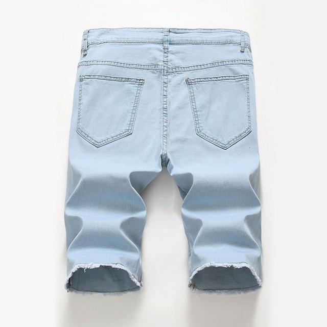 Blue Ripped Distressed Denim Short Jeans 2