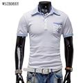 Mens polo marcas camisa de 2017 hombres de moda casual delgado de bolsillo del patrón de impresión de manga corta de los polos de los hombres jerseys x