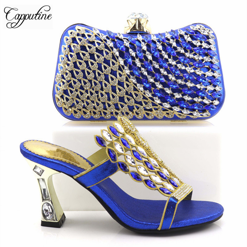Italian Style Rhinestone Shoes And Evening Bag Set Fashion Woman High Heels Slipper Shoes And Bag