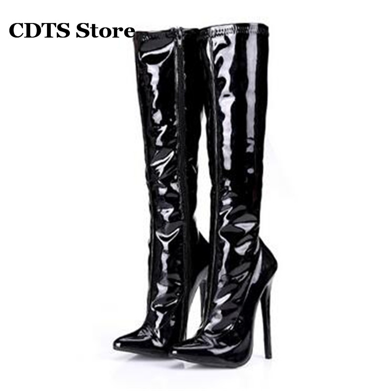 CDTS Plus:37-44 Autumn/Winter 16cm sexy ultra thin heels Knee-High Motorcycle boots side zipper pointed toe shoes woman pumps cdts plus 35 45 46 2016 spring summer 15cm ladies work boots thin high heels platform pumps woman shoes
