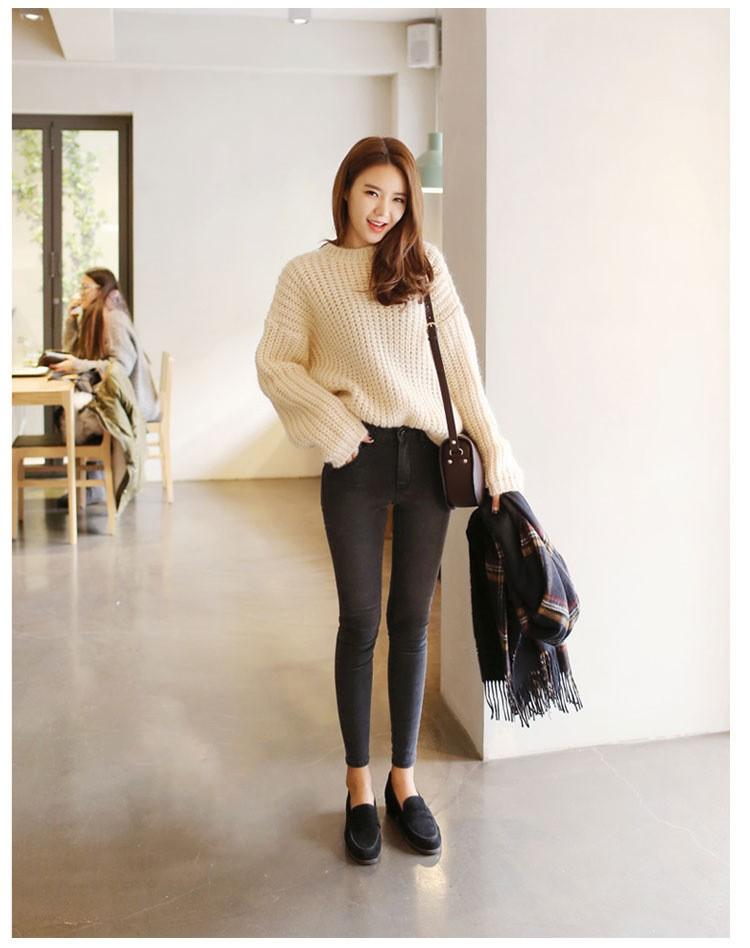 19 thin waist jeans nine Korean female grey legging feet pencil pants 9 black women jeans 5