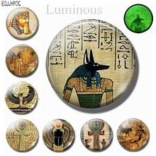 3PCS Retro Egypt Glass Fridge Magnet Decor Egyptian Cross Pharaoh Cleopatra Anubis 30MM Luminous Refrigerator Magnetic Sticker