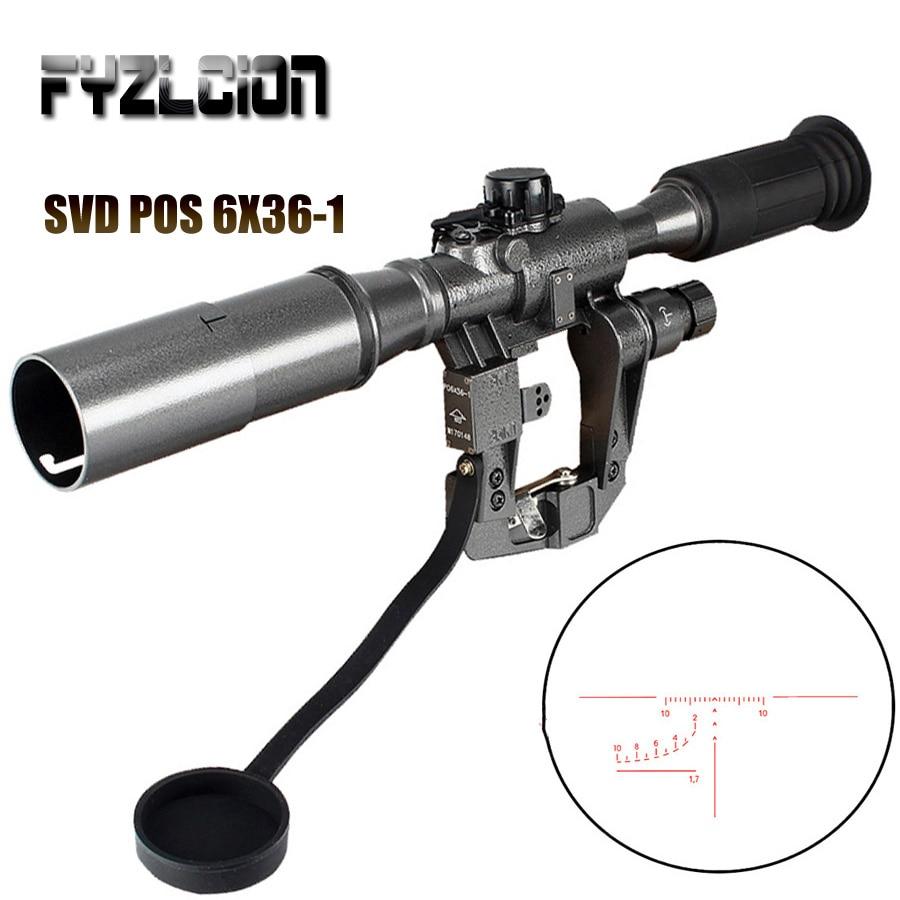 Hunting Dragunov SVD POS 6X36 1 Red Illuminated Optics Rifle Riflescope Tactical Optics Sights For Sniper