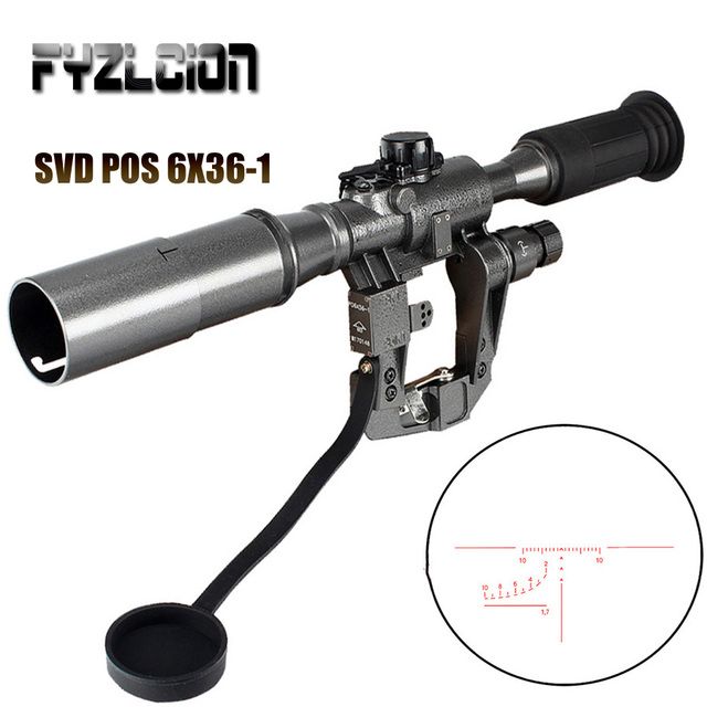 Hunting Dragunov SVD POS 6X36-1 Red Illuminated Optics Rifle  Riflescope Tactical Optics Sights For Sniper Shooting AK Rifle