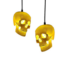 Retro Skull Head Pendant Light  Personalized Handmade Resin Lamp Home Decor Lights