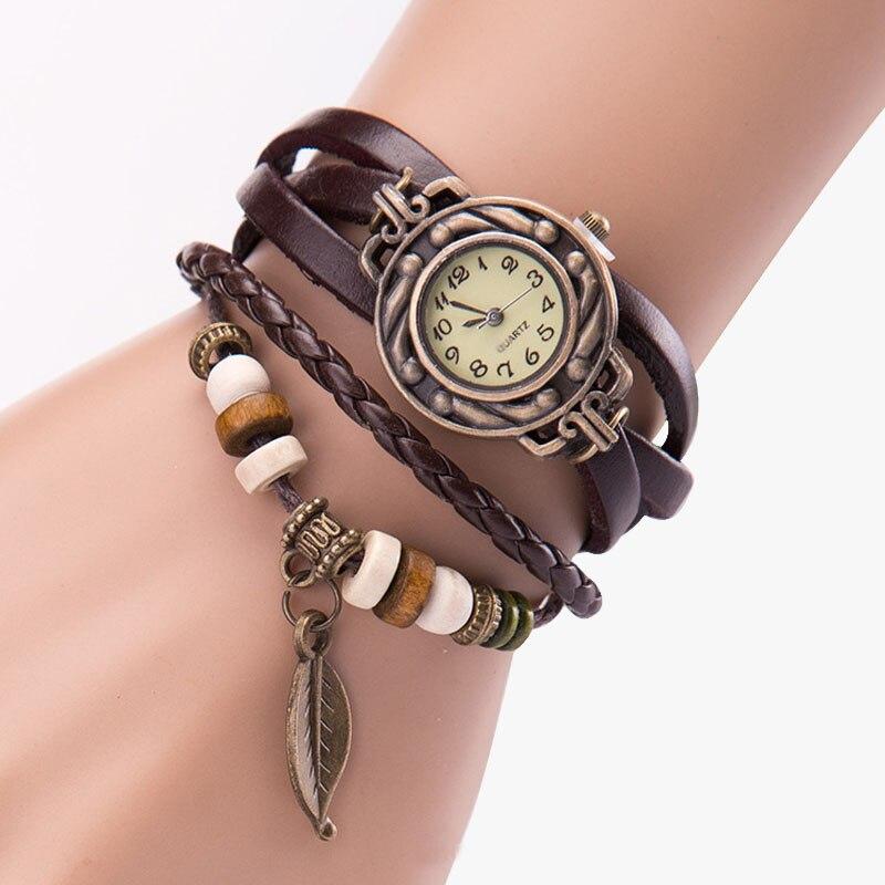 Splendid Luxury Women Watches Ladies Girl Vintage Watches, Bracelet Wristwatches leaf Pendant