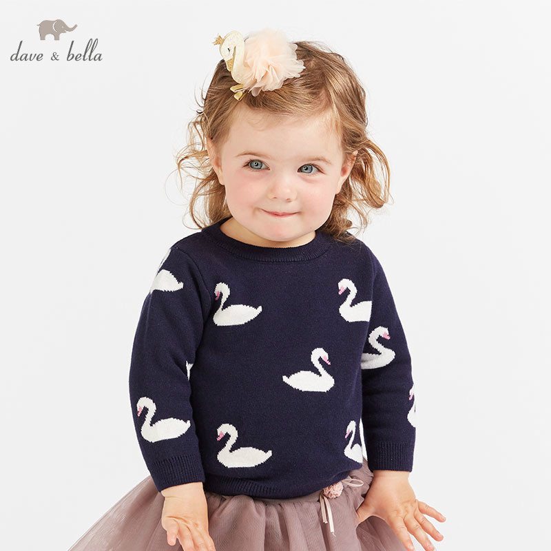 DBM8905 dave bella baby girls swan print sweater children knitted sweater kids autumn pullover toddler boutique topsDBM8905 dave bella baby girls swan print sweater children knitted sweater kids autumn pullover toddler boutique tops