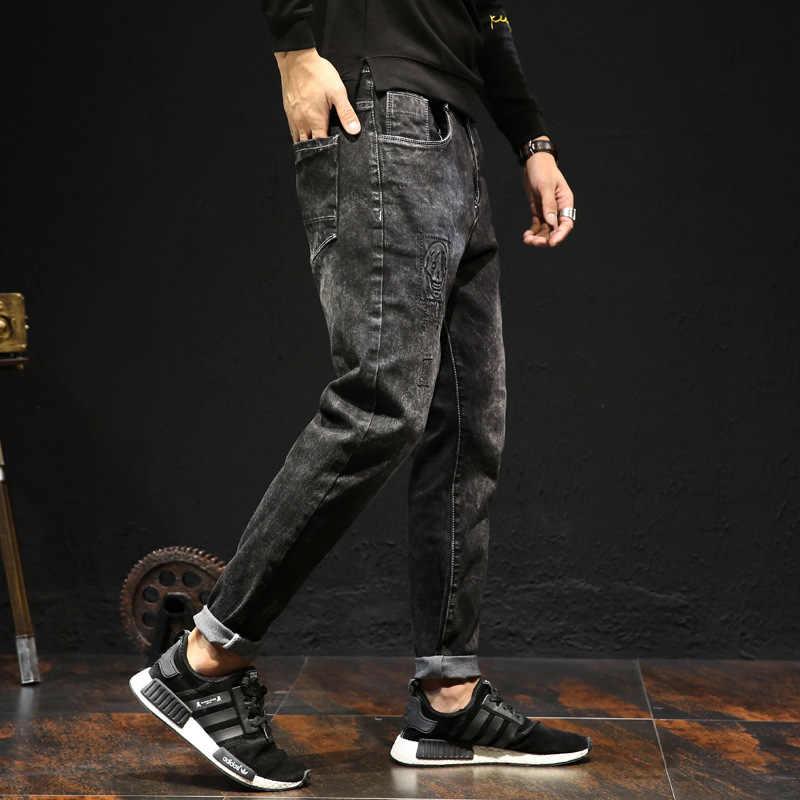 Pantalones vaqueros de marca de moda para hombre 2017 otoño nuevos pantalones vaqueros ajustados con cremallera Casual pantalones de mezclilla de Hip hop