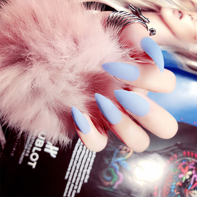 24pcs/Set Fashion Stiletto Matte False Nails Pure Red Pink Blue Long Design Full Cover Nail Tips Finished Artificial Fake Nails