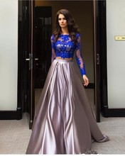 New 2017 A Line Evening Dress Long Sleeves Two Pieces Formal Evening Gowns For Wedding Party Prom Dresses Plus Size