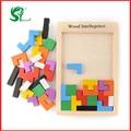 Монтессори Деревянные игрушки для детей головоломки Tangram Логические Головоломки Игра Тетрис Развивающие Детские игрушки Детям подарок