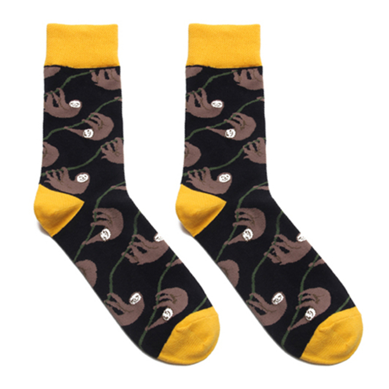 Adult Size Mid Calf Crew Sloth Cotton Socks Slow Bbradypode Folivora Lightning Lazy Animal Bradypus Choloepusa Branches Monkeys