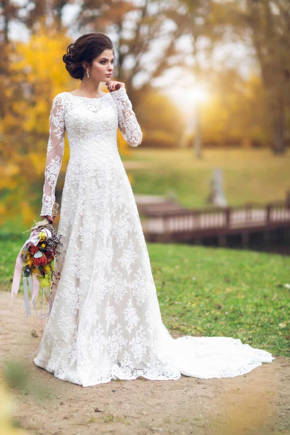 Vintage Lace A-line Long Sleeve Modest Wedding Dresses With Full Sleeves Country Western Women Bridal Gowns Sleeved