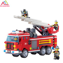 sermoido City Fire Ladder Truck Bricks Sets Building Blocks DIY Educational Toys For Kids Children DBP235