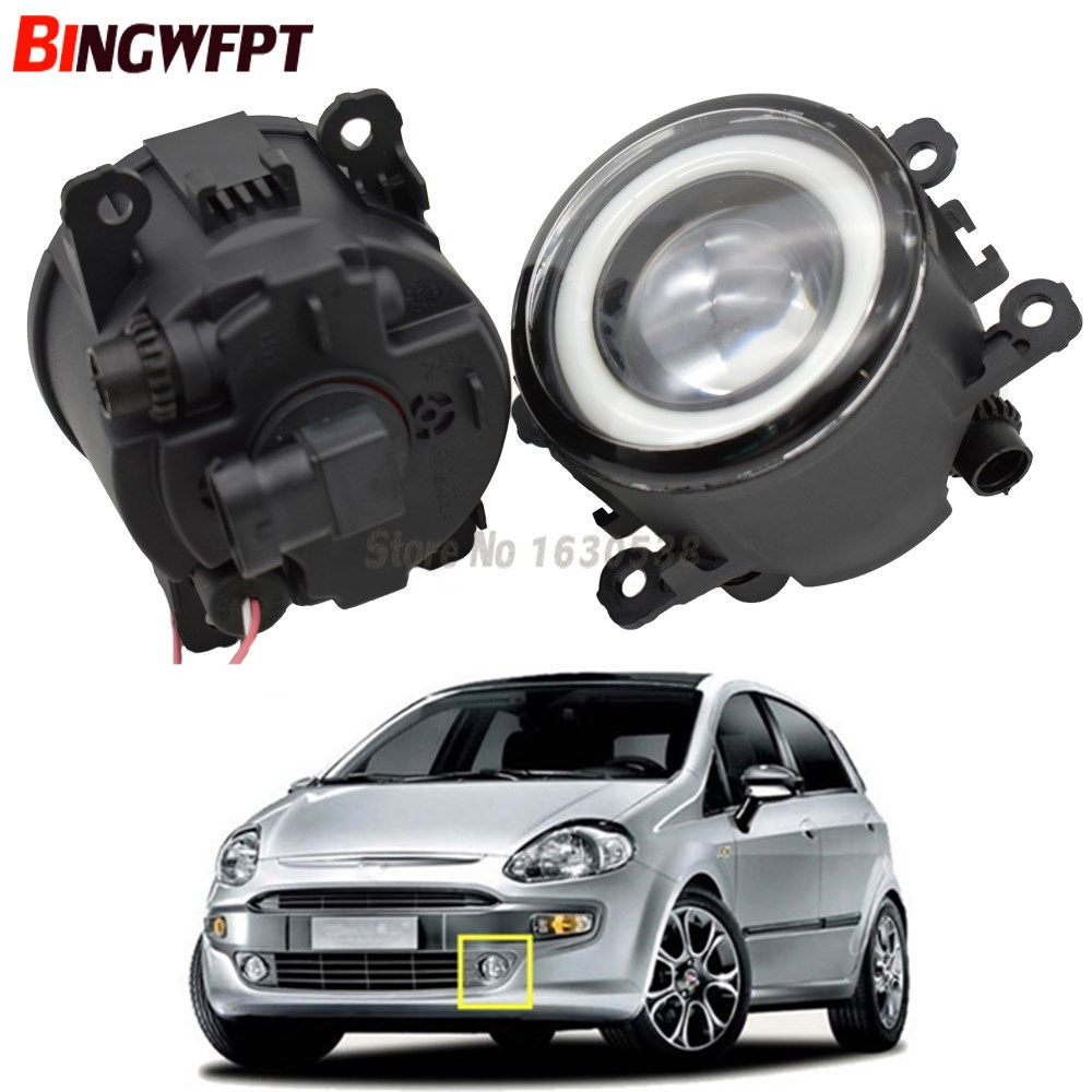 2x NEW Angel Eyes Car Styling Front Bumper LED Fog Lights With Len For Fiat Punto Evo 2010-2012