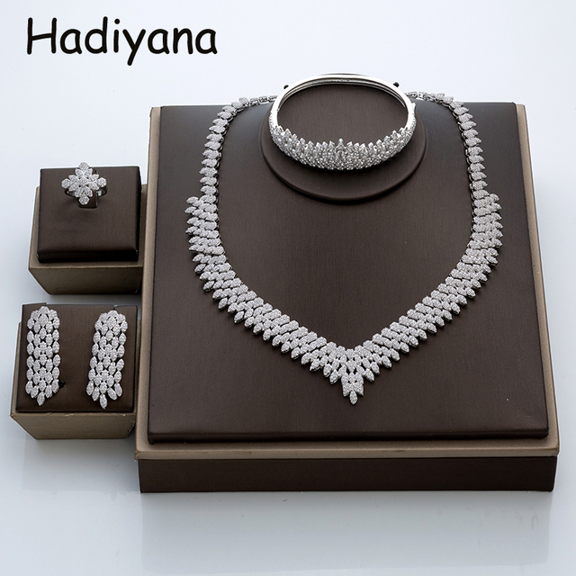 Hadiyana venda quente de luxo feminino nigeriano casamento conjunto noiva moda zircônia cúbico manequim conjuntos jóias frete grátis tz8022