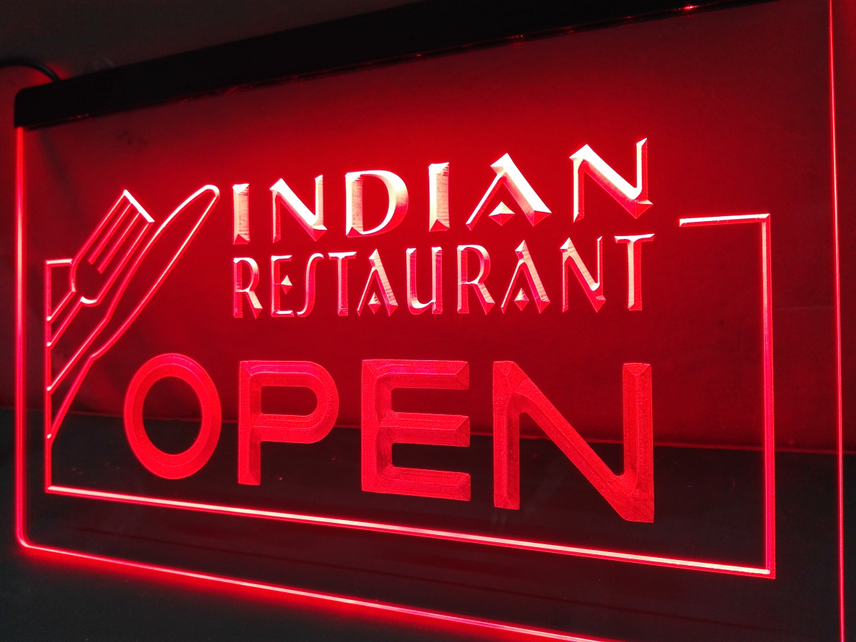 Lb643 Indian Restaurant Open Food Cafe Led Neon Light Sign Home Decor Crafts