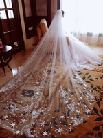 New Arrival Luxury 4 Meters Full Edge with Star Lace Bling Sequins Long Wedding Veil with Comb White Ivory Bridal Veil 2018 hot