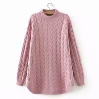 plus size Criss Cross winter women pullovers black 2018 Turtleneck Knitted casual ladies oversize sweater wool female 4XL pink