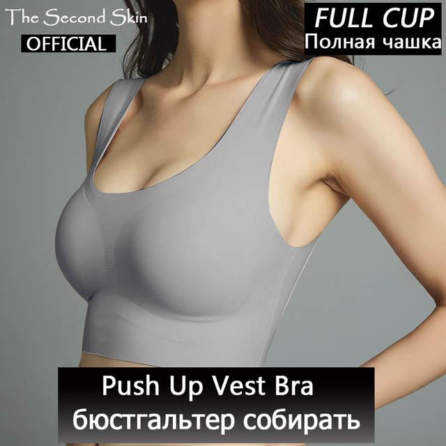cd1551654 Gelo de seda sem costura empurrar para cima colete sutiã mulheres roupa  interior macio confortável sono top com peito acolchoado plus size sutiãs  para as ...