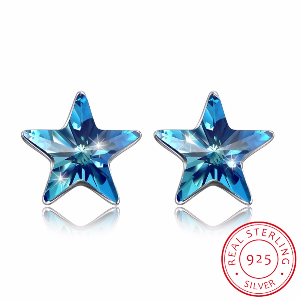 Fine Jewelry Made with Swarovski Crystal Blue Star Earrings Real S925 Sterling Silver Blue Star Earrings for Women Gift 2018Fine Jewelry Made with Swarovski Crystal Blue Star Earrings Real S925 Sterling Silver Blue Star Earrings for Women Gift 2018