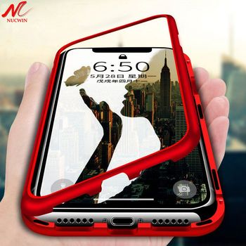 NUCWIN Luxury Magnetic Case for iPhone 7 7Plus Built-in Magnet Metal Case for iPhone X Xs Max 8 6 6S Plus Xr Temper Glass Cover iphone xr case magnetic
