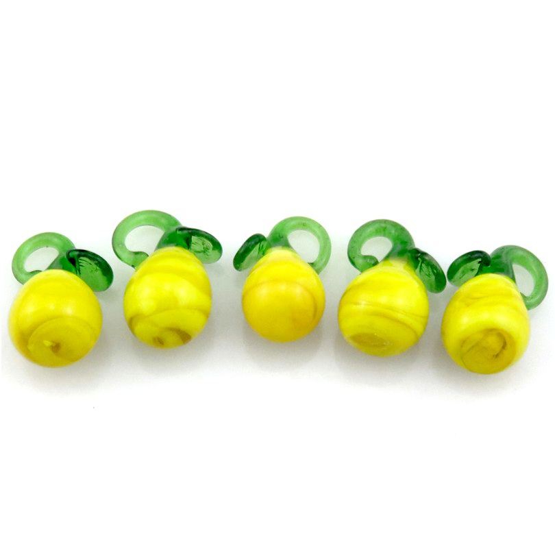 5pcs Kids Girl Pear Glass Charms Food Fruit Design Pendant Charms for European Charm Bracelet Jewelry Making Supplies 21893